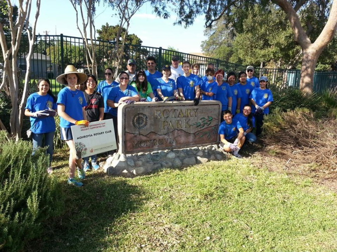 "Monrovia Rotary/Interact Clubs clean up Rotary Park on ""Make a Difference"" Day"