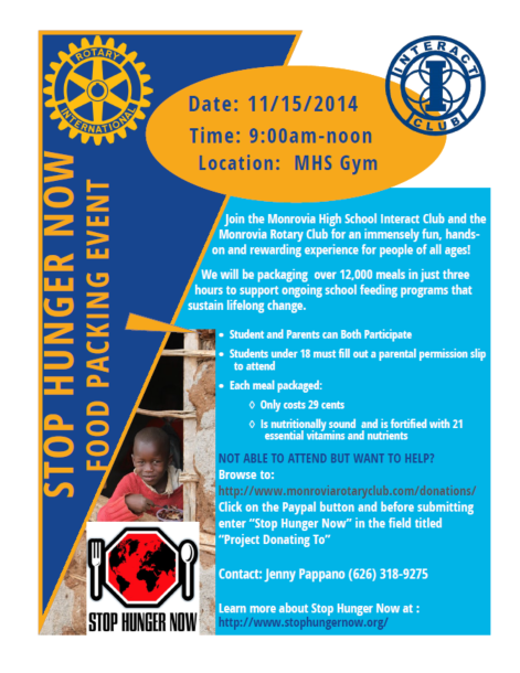 Stop Hunger Now Packing Event to be Held Nov 15 at MHS